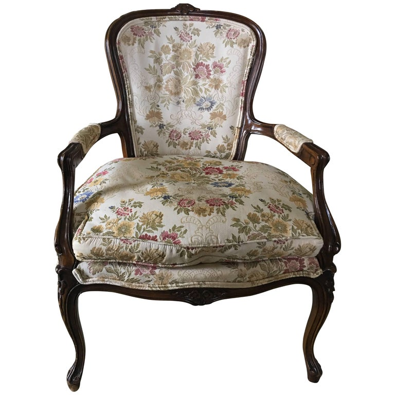Louis XVI Style French Walnut Upholstered Armchair, 20th Century
