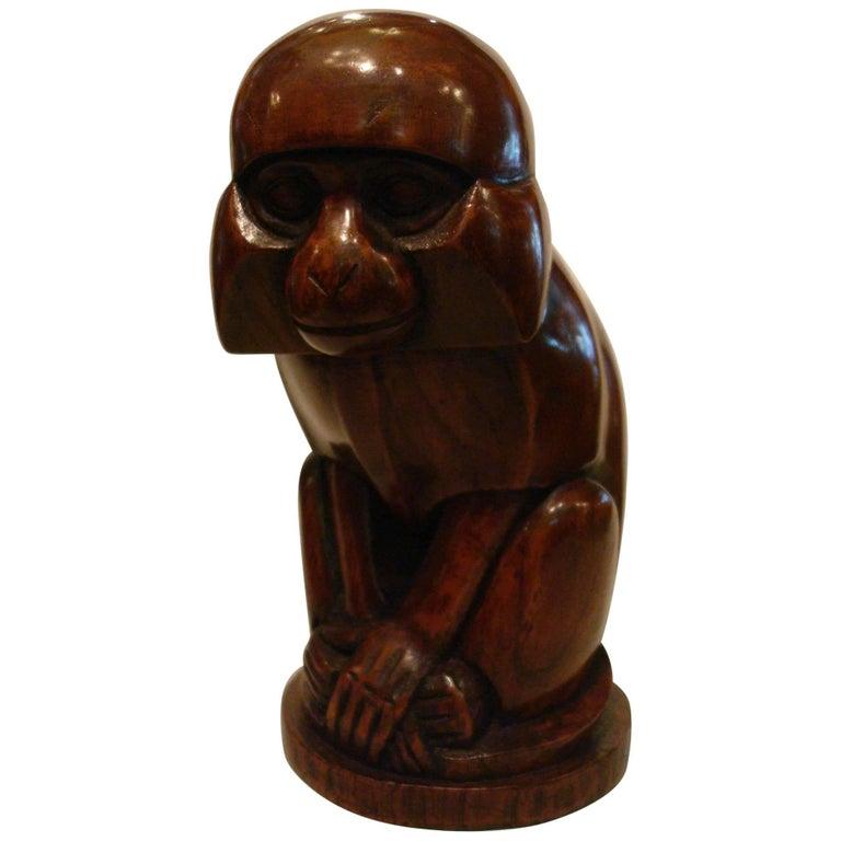Art Deco Wooden Carved Monkey - Singe, France, 1924, Sandoz