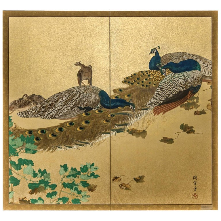 Japanese Two-Panel Screen, Family of Peafowl For Sale