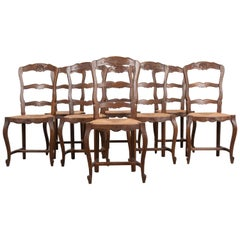 Set of Eight French Oak Ladder Back Chairs with Rush Seats