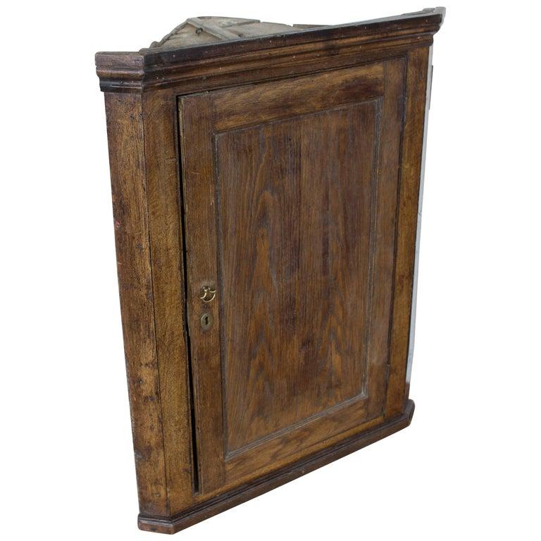 Antique English Georgian Oak Corner Cupboard For Sale - Antique English Georgian Oak Corner Cupboard For Sale At 1stdibs