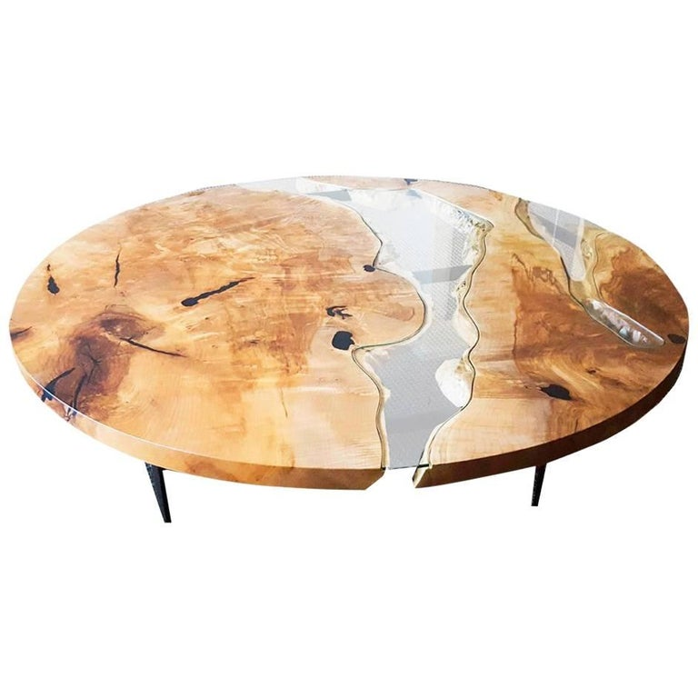 River Coffee Table in Live Edge Maple with Curved Steel Base in Black