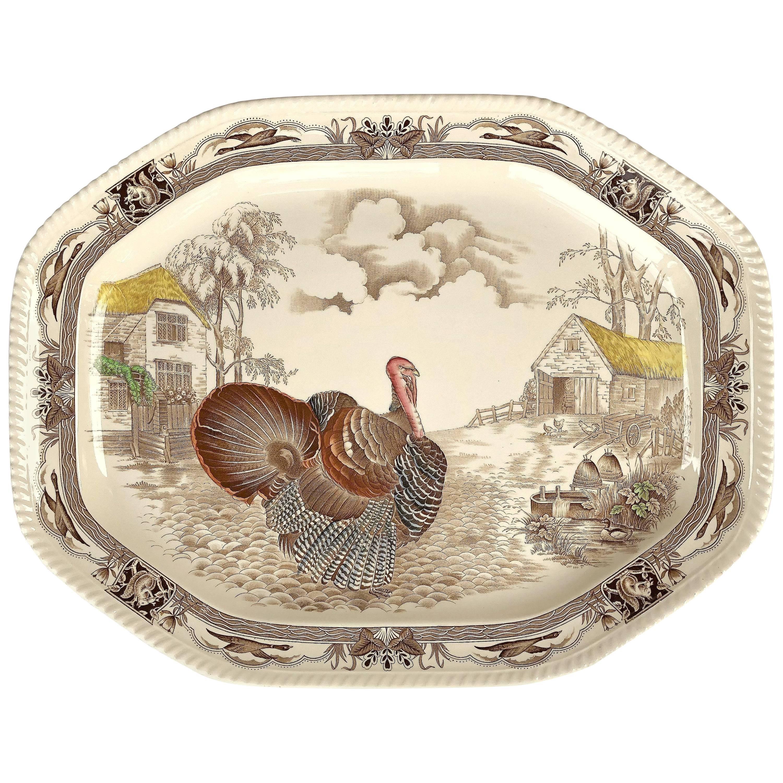 English Transferware Large Turkey Platter, Barnyard King by Johnson Brothers