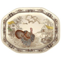 English Transferware Large Platter, Barnyard King by Johnson Brothers