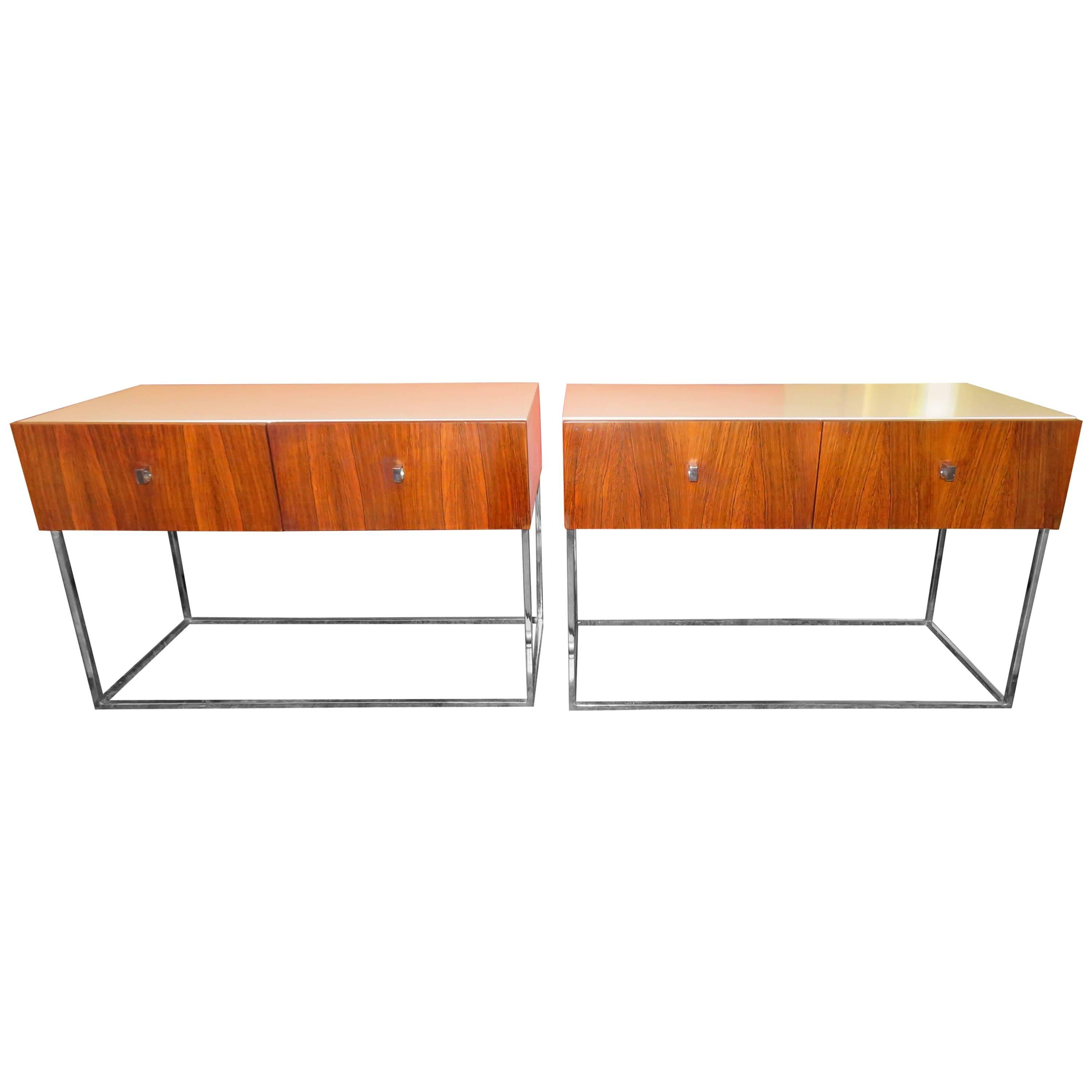 Pair of Rougier Rosewood Two-Drawer Chrome Base Nightstands Mid-Century Modern