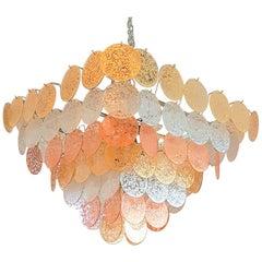 Mid-Century Modern Italian Vistosi Pyramidal Murano Glass Discs Chandelier