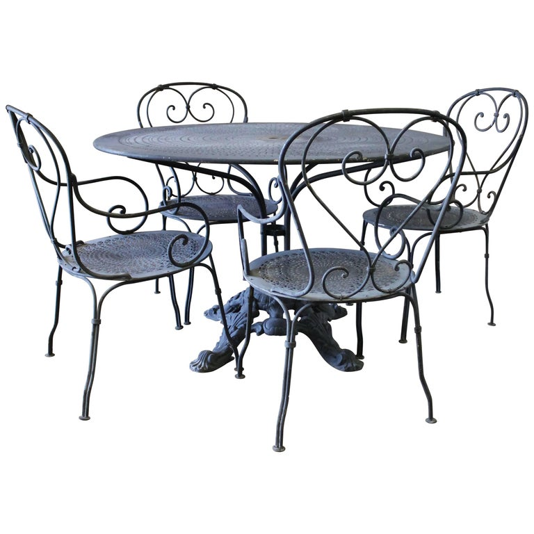 Black Iron French Patio Outdoor Table And Chairs For