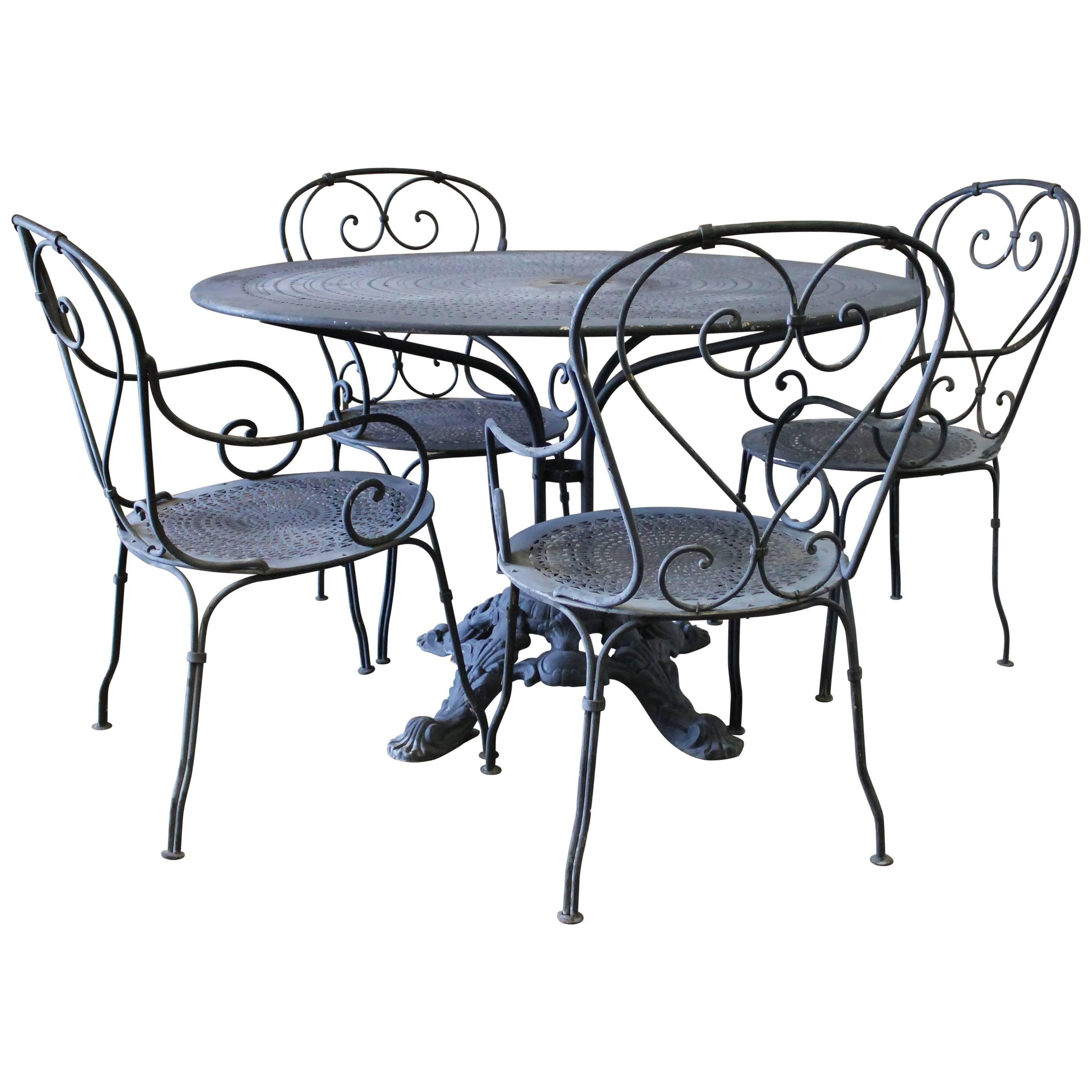 Beautiful Black Iron French Patio Outdoor Table And Chairs