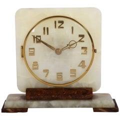 Art Deco Alabaster Table Clock