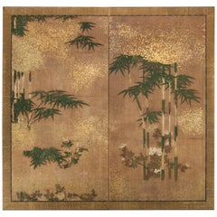 Japanese Two Panel Screen: Bamboo Grove on Mulberry Paper with Gold Dust