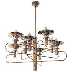 Mid-Century Modern Italian Gaetano Sciolari Brass and Chrome Chandelier