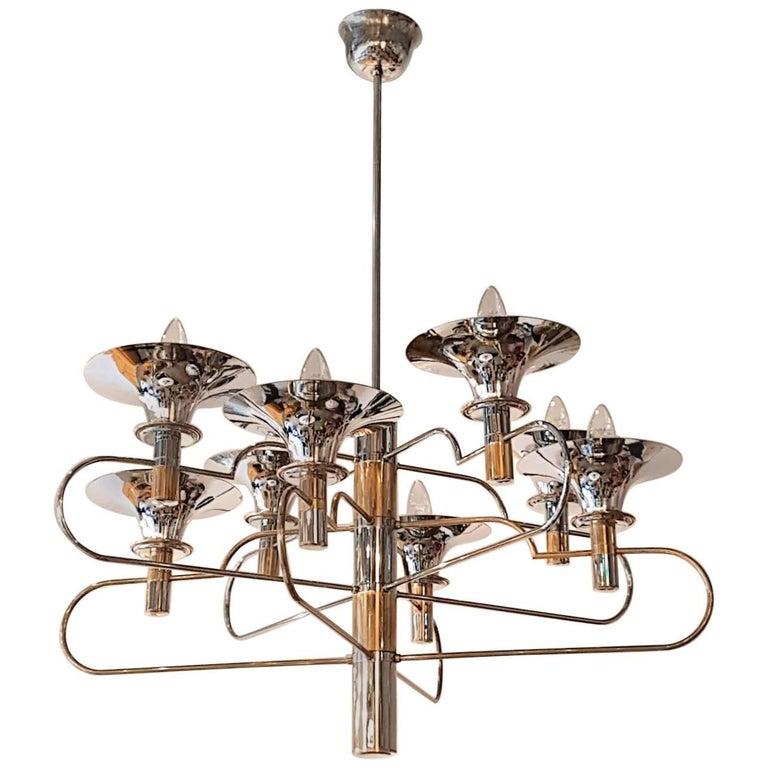 Mid-Century Modern Italian Gaetano Sciolari Brass and Chrome Chandelier