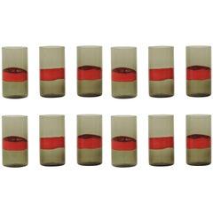 Splendid Set of 12 Drinking Glasses by Fulvio Bianconi for Venini