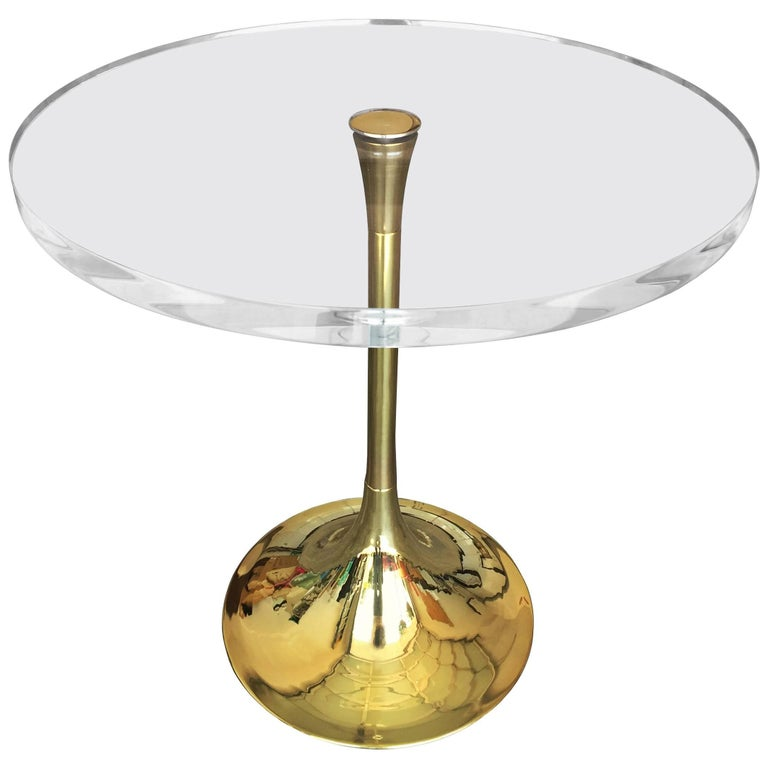 "Charles Hollis Jones ""Bugle"" Base Side Table in Brass and Lucite"