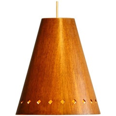 1950s, Wooden Pendant by Uno & Östen Kristiansson for Luxus Vittsjö