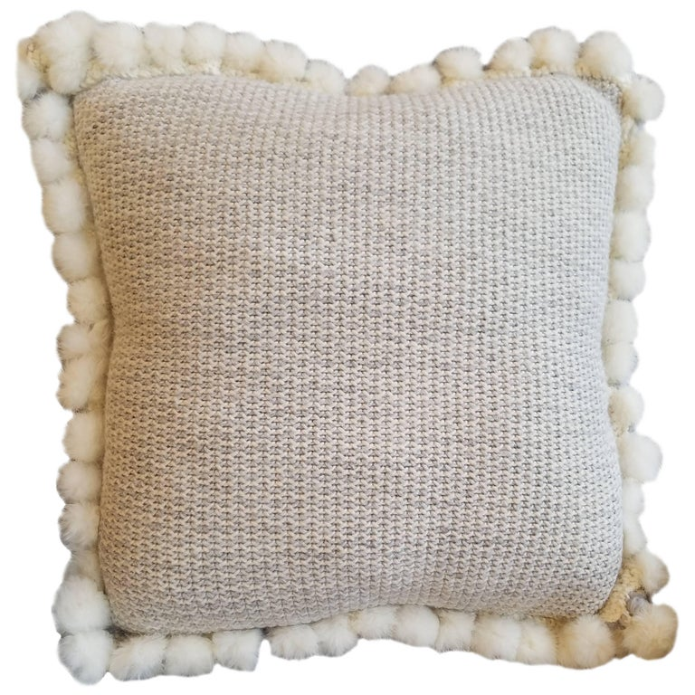 Handwoven Merino Wool Pillow with Angora Trim by Le Lampade For Sale