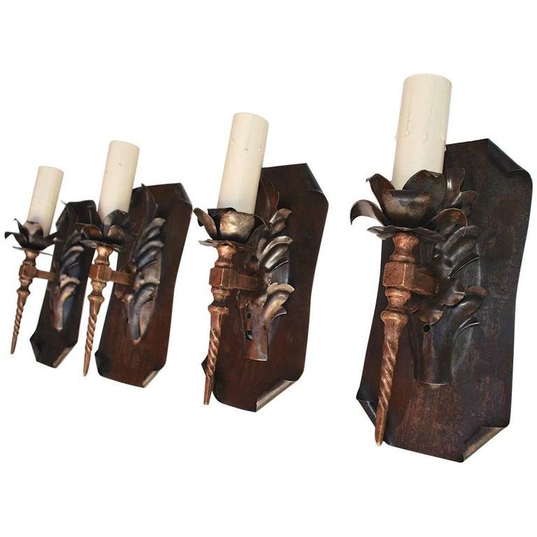 Elegant Set of Four 1920s Iron Sconces