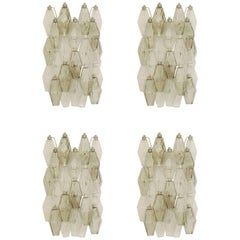 Spectacular Set of Four Carlo Scarpa Poliedri Wall Sconces for Venini
