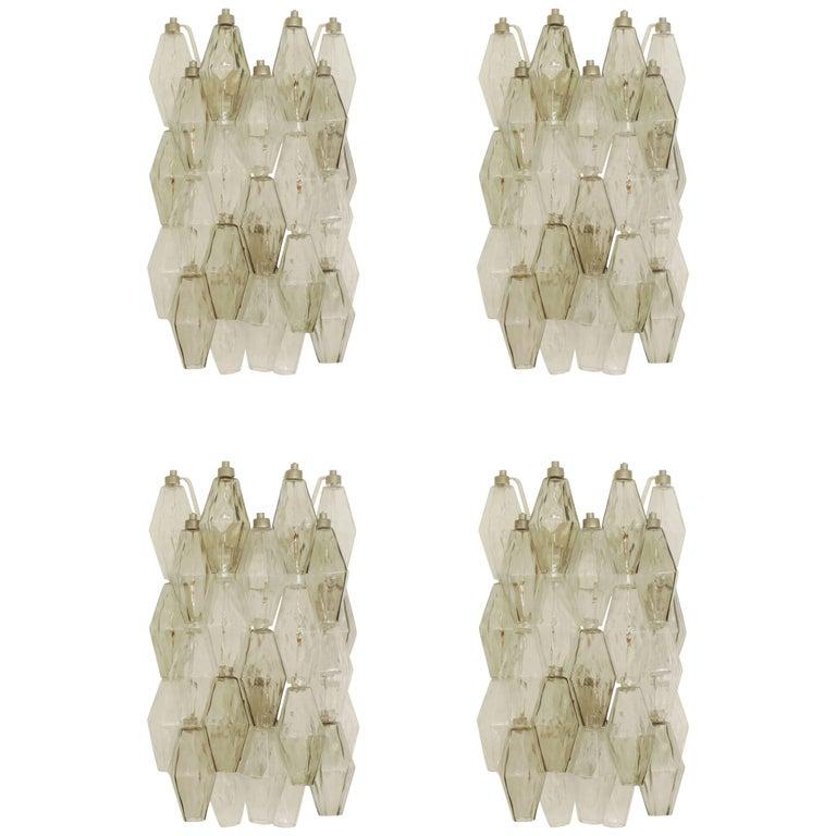 Spectacular Set of Four Carlo Scarpa Poliedri Wall Sconces for Venini