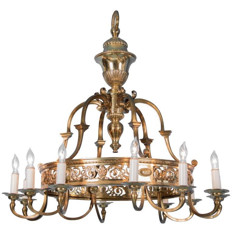 Antique Twelve-Light Brass Chandelier from Denmark