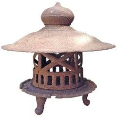 Iron Tea Garden Lantern with Calligraphy Japanese Art
