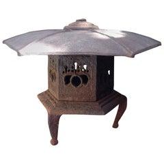 Iron Tea Garden Art Lantern with Hexagonal Roof Japanese