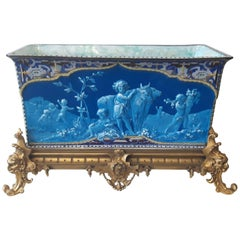 Unique French Barbotine 19th Century Ormolu Mounted Rectangular Jardinière