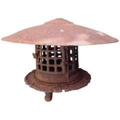 Iron Tea Garden Lantern with Pattern of Four Rows of Squares Japanese