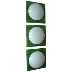 Set of Three Italian Murano Glass Wall or Ceiling Lights Sconces, 1970s