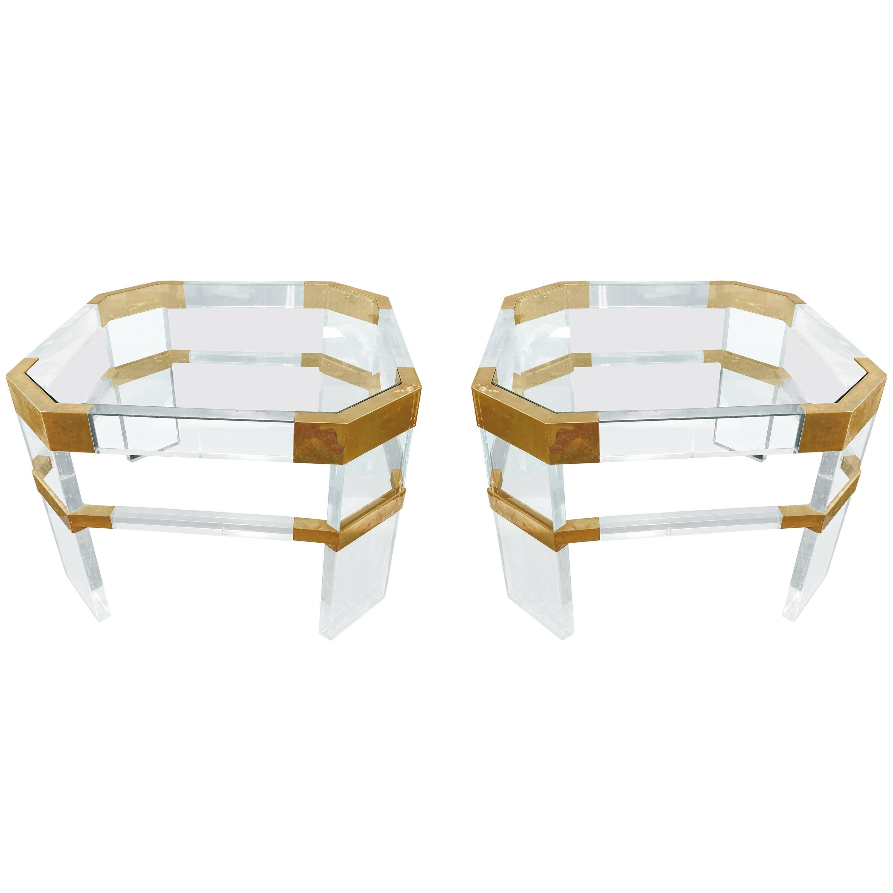 """Lucite and Brass Side Tables by Charles Hollis Jones """"Metric, Clipped Corner"""""""