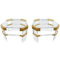 "Lucite and Brass Side Tables by Charles Hollis Jones ""Metric, Clipped Corner"""