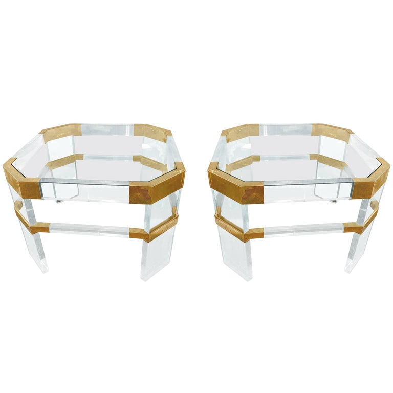 "Lucite and Brass Side Tables by Charles Hollis Jones ""Metric, Clipped Corner"" For Sale"
