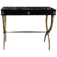 1950s Console Table Italian with Brass Legs