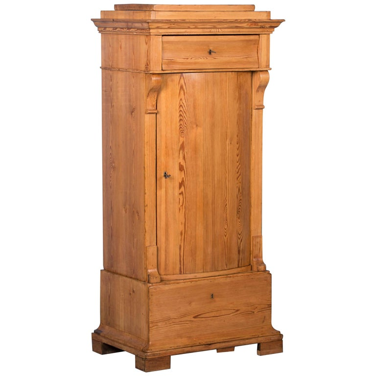 Antique Danish Bow Front Country Pine Cabinet