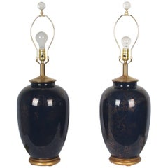 Fine Pair of 19th Century Blue Mirror Glaze with Gilt Decor, Giltwood Base Lamps