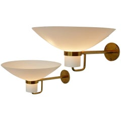 Set of Two Brass and Glass Wall Lights, Scandinavia, 1950s-1960s