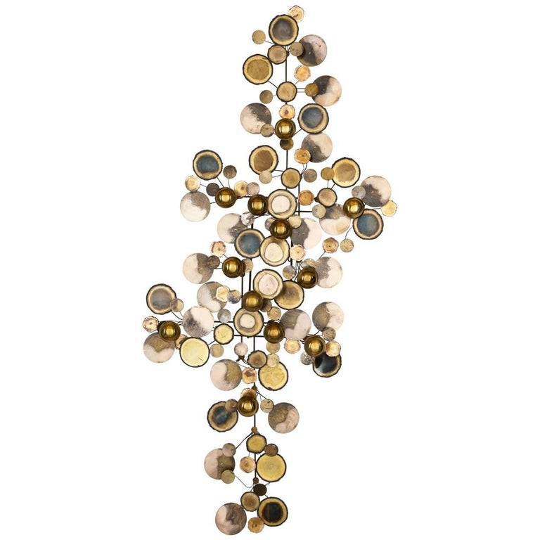 Brass Curtis Jere Raindrops Wall-Mounted Sculpture, C. Jere, 1975
