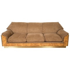 Thuja Burl and Suede Sofa by Willy Rizzo