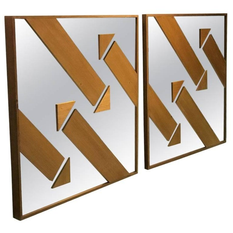 Pair of Wood and Mirror Modernist Arrow Wall Mirrors
