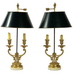 Pair of Louis XVI Style Gilt Bronze Candelabra, Converted in Bouillotte Lamps
