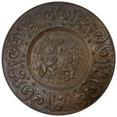 Antique Italian Large Embossed Copper Roman Plate Circa 1820
