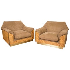 Willy Rizzo Thuja Burl Suede and Brass Set of Two Italian Lounge Chairs