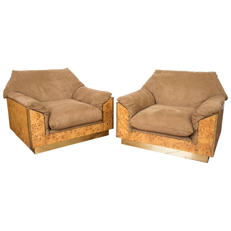 Thuja Burl and Suede Set of Two Lounge Chairs by Willy Rizzo