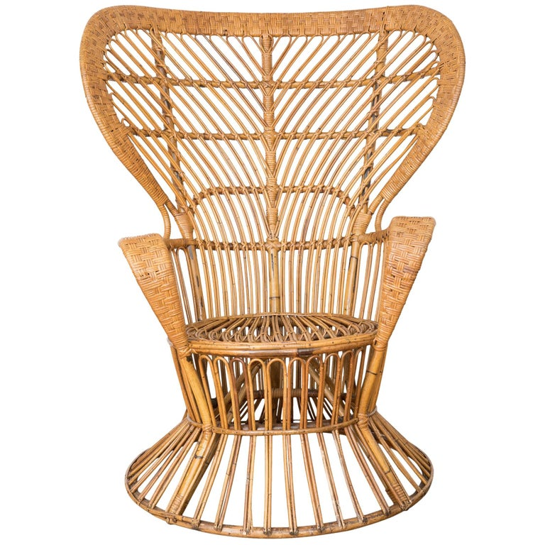 Midcentury Italian Bamboo and Rattan Armchair Designed by Lio Carminati