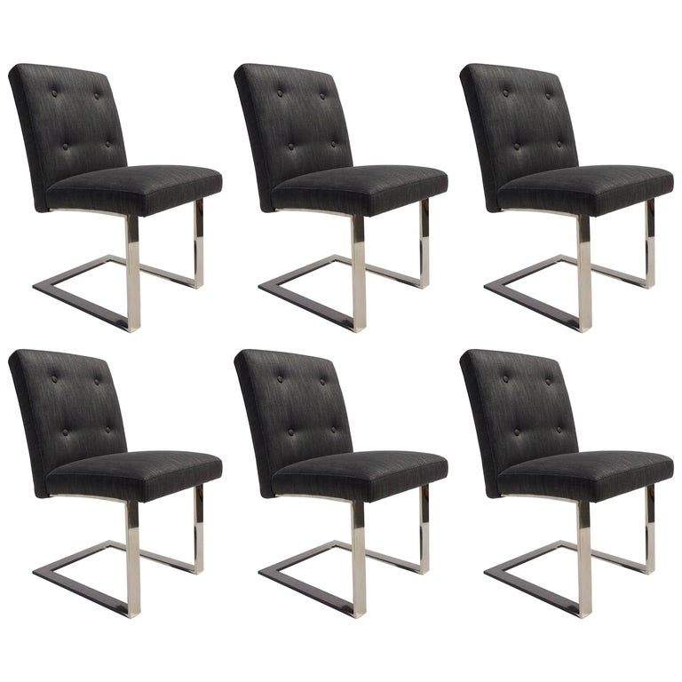 Set of Six Dining Chairs by Paul Evans for Directional For Sale
