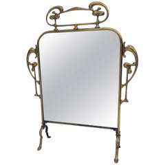 Beautiful Brass Art Nouveau Table Mirror