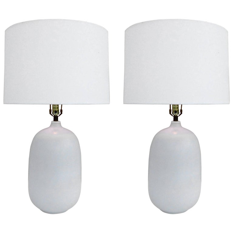 Pair of Large Ceramic Lamps by Lotte and Gunnar Bostlund