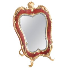 French Rococo Style Red Tortoise Shell and Gilt Bronze Footed Vanity Mirror