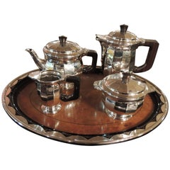 Sterling Silver Art Deco Tea Coffee Service by Delheid Freres