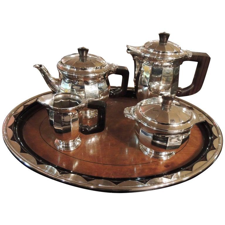 Sterling Silver Art Deco Tea Coffee Service by Delheid Freres